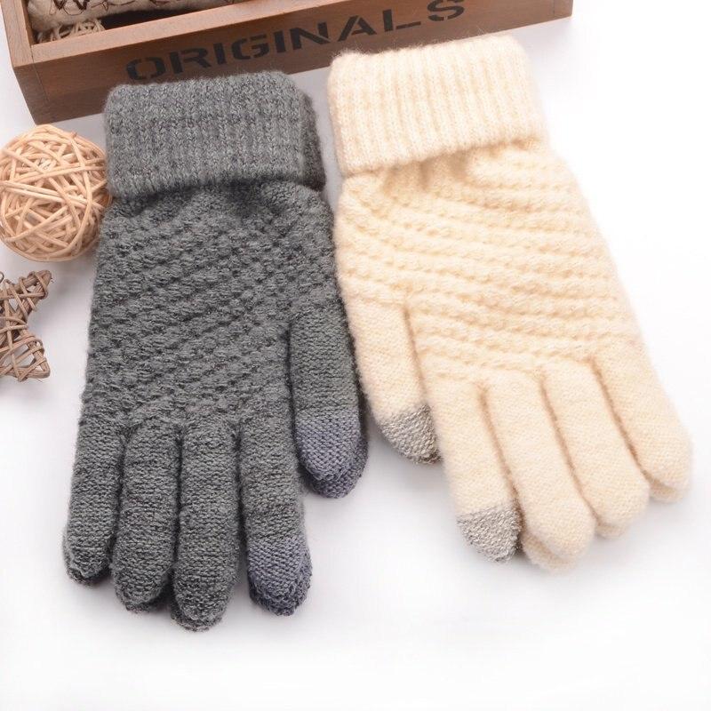 Women's Gloves 2019 Latest Design 1 Pair 2018 Women Screen Winter Warm Wrist Mittens Gloves Girls Black Full Finger Wrist Driving Glove Female Outdoor Luvas 2019 Official