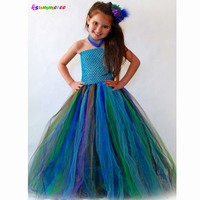 Ksummeree Handmade Peacock Inspired Girls Tutu Dress Party Dresses Holiday Clothing Baby Dress Up Fancy Tutus
