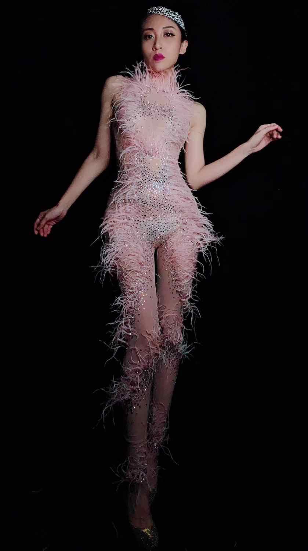 Mujer cantante bailarina ver a través de las mallas traje cumpleaños celebración mono nuevo diseño rosa pluma perspectiva malla mono