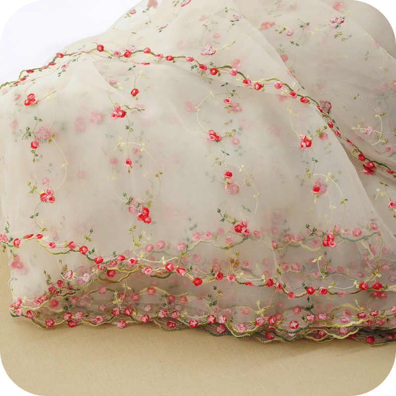 African lace fabric Organza small rose jacquard skirt diy craft wedding dress French clothes accessories 130cm