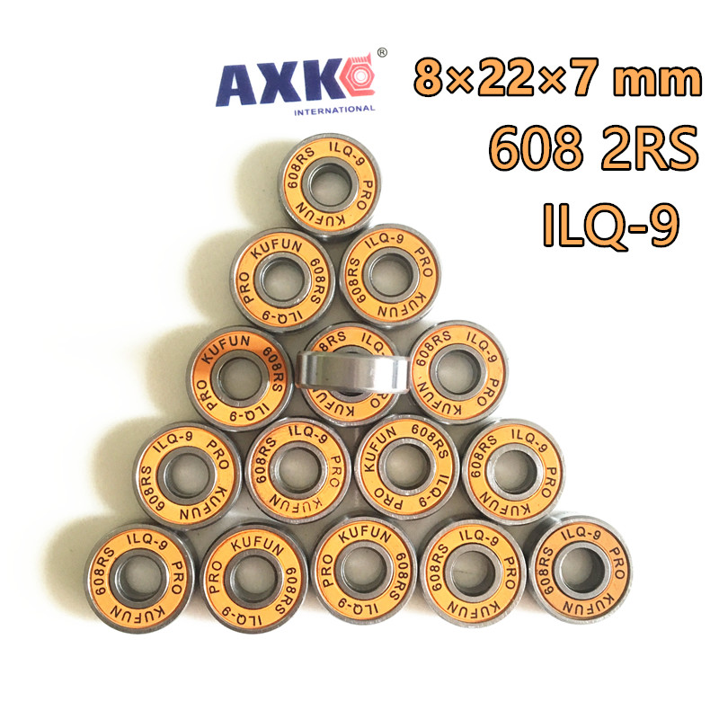 цены 2018 Real Sale Hot Free Shipping Kufun 608 2rs 608rs Ilq-9 Miniature Ball Radial Bearings Good Quality Skating Abec-9 8*22*7mm