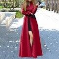 2016 Otoño Invierno Moda fábrica partido club de Las Mujeres Abrigo de Lana de Abrigo Patchwork Caliente Larga Chaqueta de Manteau Femme Vestido Maxi W020