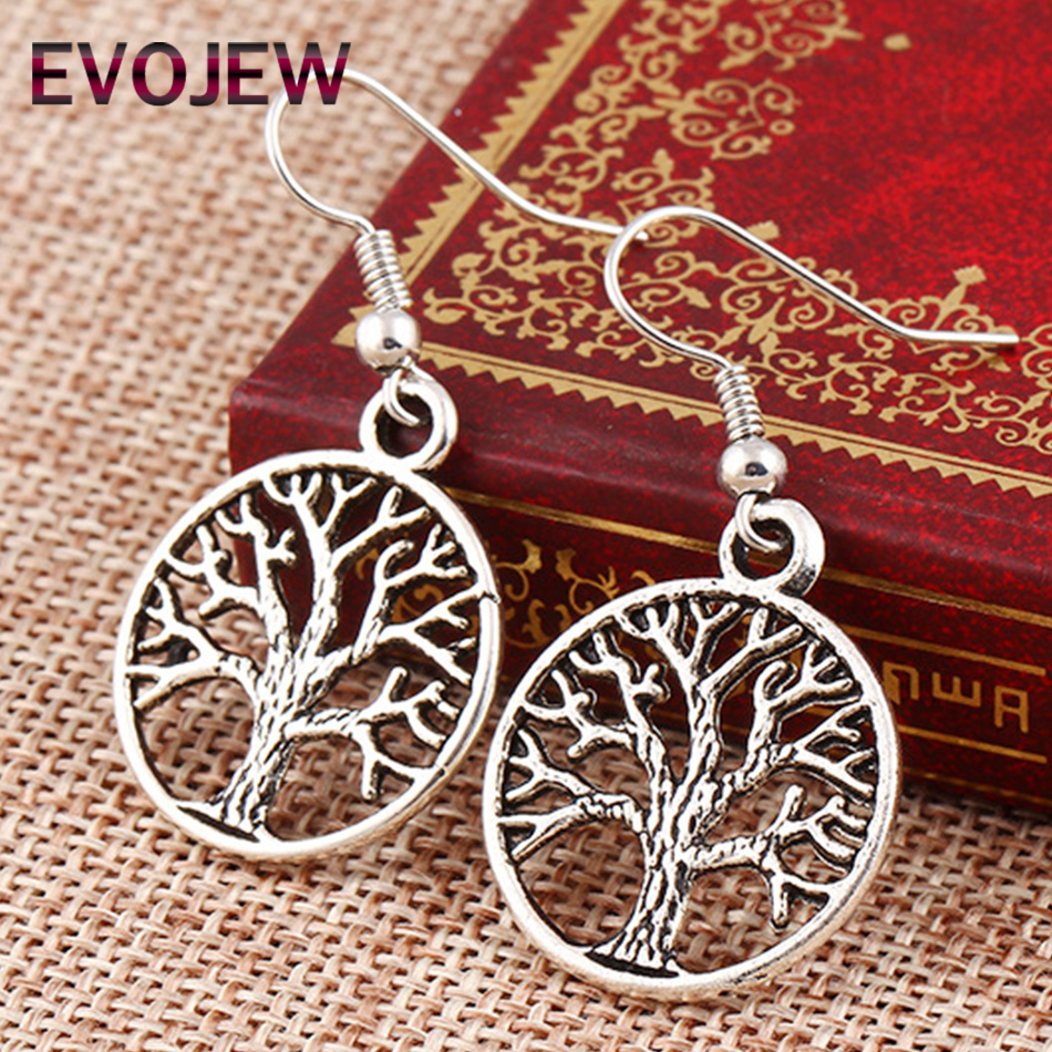 EVOJEW New Fashion Jewelry Punk Style Vintage Sliver Color Tree of Life Dangle Earrings Best Gift for Women Grils Wholesale