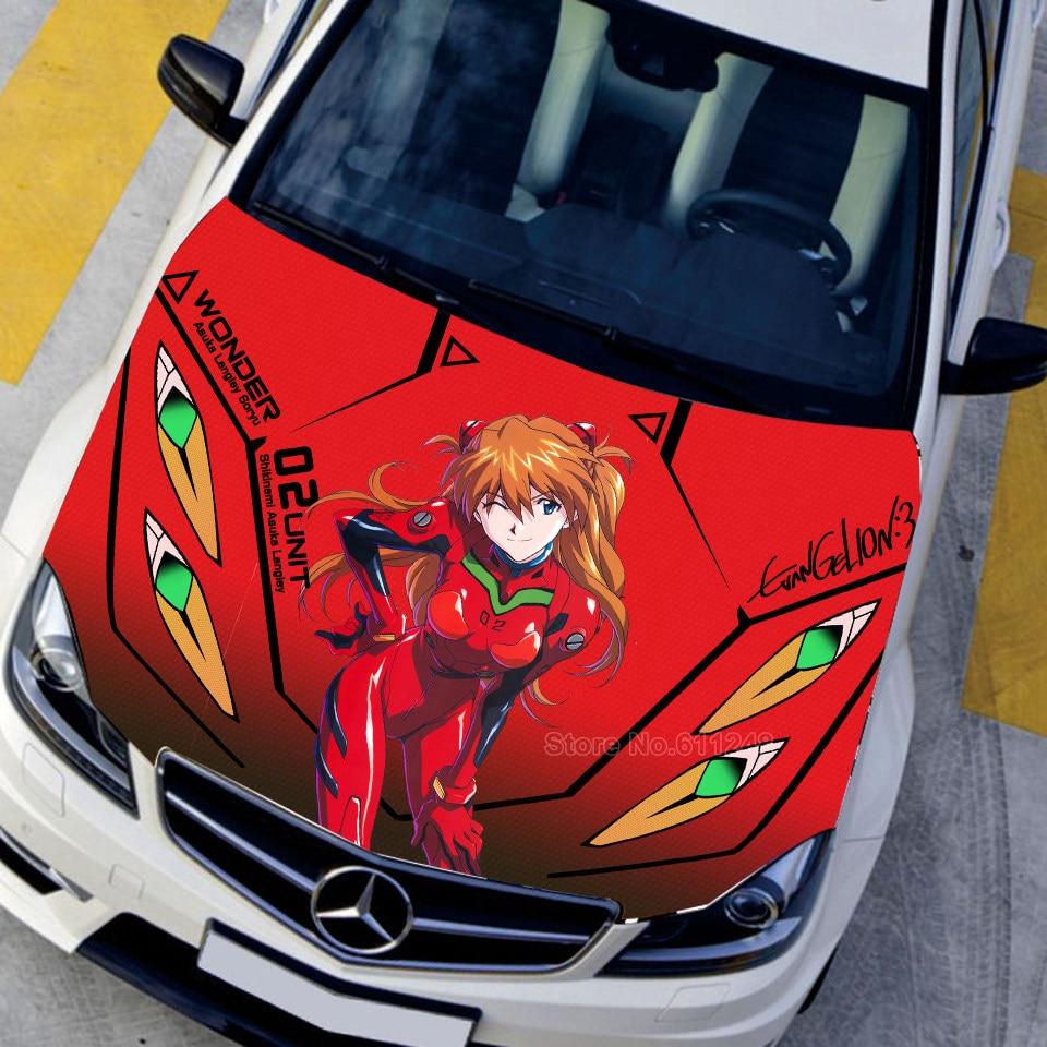 Japan anime neon genesis evangelion 3d car hood engine cover sticker eva acgn paint car change