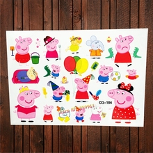 25 Design Cute Pai Pig Famliy Child Temporary Tattoo Stickers Kids Body Arm Fake Flash Tattoo Paste Waterproof Tatoo Girls Elsa