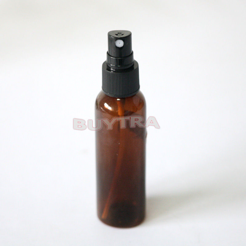 Brown Plastic Amber Bottle Empty Refillable Lotion Pump Bottle Cosmetic Container With Atomiser Spray Mixer Bottle 60ml