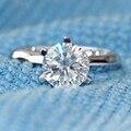 Queen brilliance puro claro 2 carat ct anillo de diamante de moissanite anillo de compromiso de la boda de cristal f solid 585 14 k oro blanco