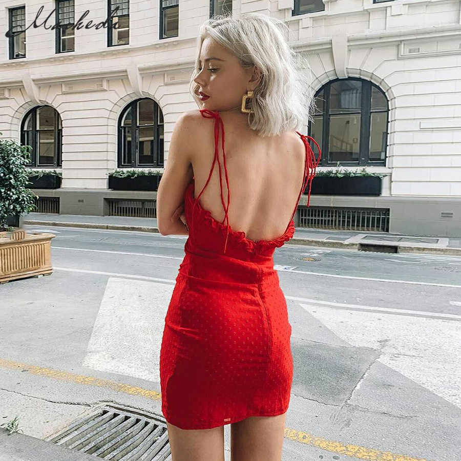 Macheda Женское летнее легкое сетчатое короткое красное платье мини на бретелях с оборками и открытой спиной