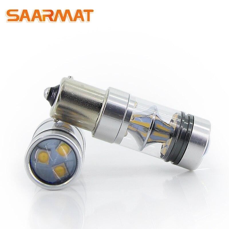 LED 1156 ba15s P21W 75W T15 W16W 25W T20 7440 WY21W ampoules pour voiture feu arrière arrière feux de stationnement blanc 12V (2 pièces) SAARMAT