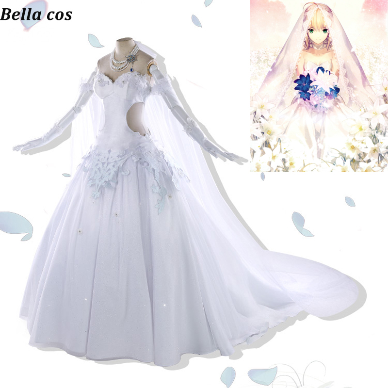 Fate Grand Order Saber Altria Pendragon cosplay costume Altria white Bride wedding dress Halloween costumes Anime