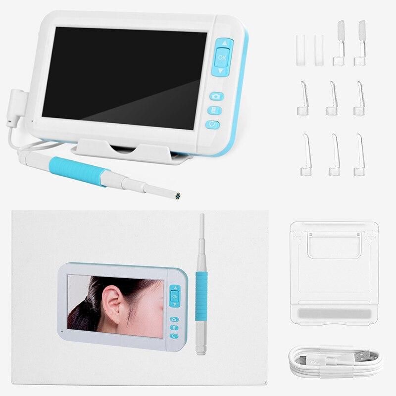 Otoscope Endoscope caméra 5.5MM Len 1080P Kit de Diagnostic oreille cuillère nettoyage HD écran Mini oreille protecteur cueilleur outil soins de santé