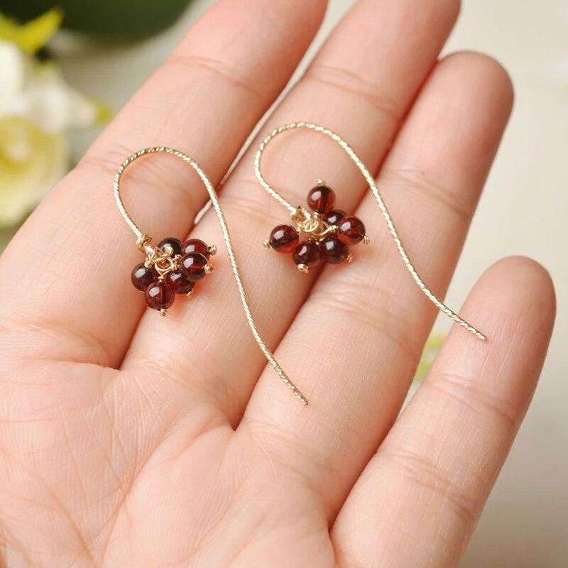 Yoowei nouvelles boucles d'oreilles en ambre naturel pour femmes S925 argent 3.8mm Mini perles réelles balancent lustre boucle d'oreille bijoux en ambre en gros