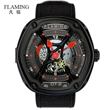 FLAMING Dietrich Series Fashion 1969 Organic Time OT 2 Red Watches Men Luxury Wristwatches with Miyota