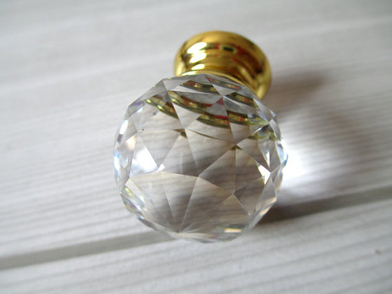 Glass Knobs Crystal Knob Dresser Drawer Knobs Pulls Handles Gold