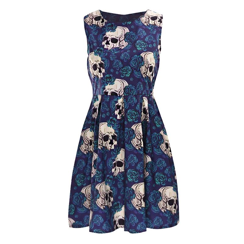 ISHINE Midi Dress Green Vintage Elegant Dress Skeleton Head Rose Print A-line Sleeveless Flare Dress Vestidos Mujer Female