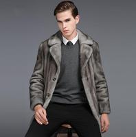 スーツの襟冬厚みの暖かいフェイクファーのコートメンズ革のジャケットスリムミンクテンの毛皮のコートのオーバーコート男