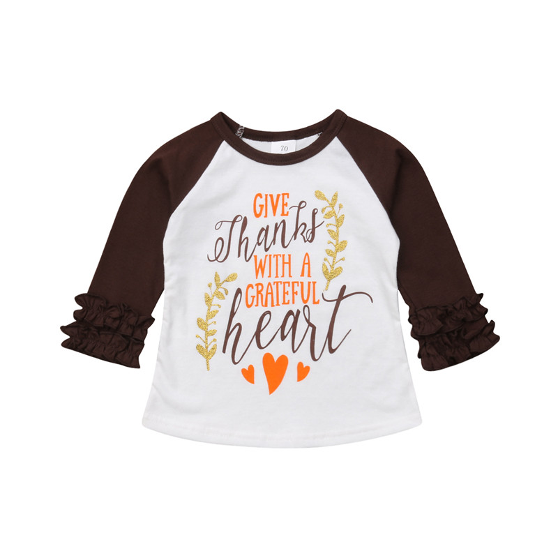 PUDCOCO T-Shirt Tops Tee-Outfits Thanksgiving Ruffle Toddler Baby-Girls Kids Boys Cotton