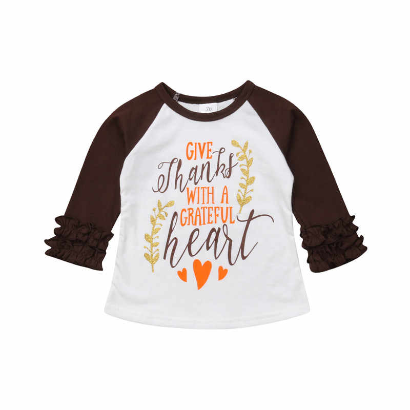 PUDCOCO POP Thanksgiving Tee Outfits Peuter Kids Baby Meisjes Jongens Katoen Ruche Tops T-shirt Casual Warme Kleding 1-5 t