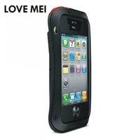 Lovemei роскошный Грязезащищенная антидетонационных металла Алюминий чехол с гориллы Стекло для iPhone 4/4S heavy Duty Защита случае