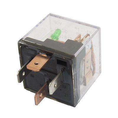 DC 12V 80A 1NO SPST 4 Pins Green Indicator Light Automotive Truck Car Relay