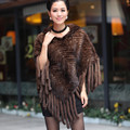 (LordFur) Woman's Genuine European Knitted Mink Fur Wraps with Tassels Female Winter Warm Cape Hooded Pullover