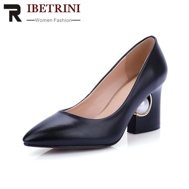 1d411a2b3 2019 Plus Size 33-44 Strange Style Women Shoes Slip On Mid Heels Shoes  Women Party Wedding Pumps Red Black Colors