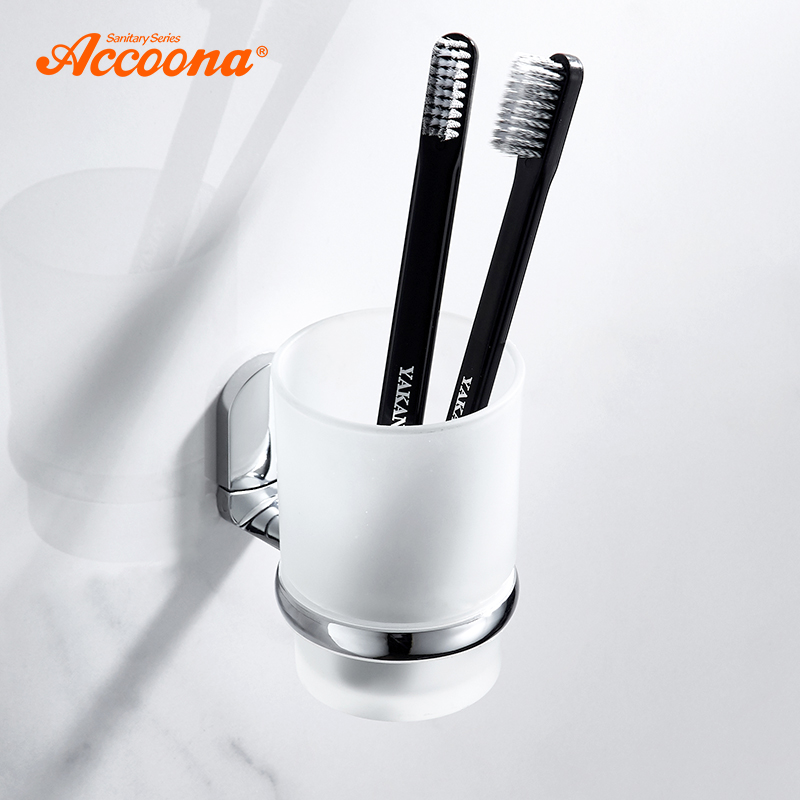 Accoona Bathroom Cup Tumbler Holders Single Cup Toothbrush Holder Bathroom Accesssories Wall Mounted Bath Tumbler Holder A12003 image