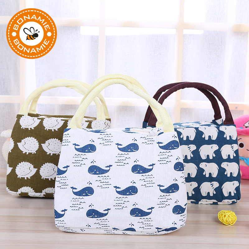 BONAMIE Animal Bear Tree Pattern Lunch Bag Portable Insulated Canvas Cooler Bag Thermal Food Picnic Lunch Bags For Women Kids