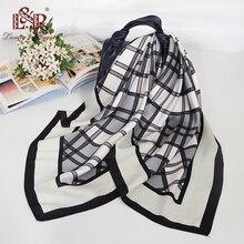 2019 Women Bandana Scarf Print Plaid Ladies Silk Scarf 90*90cm Large Square Head Scarf Luxury Fashion Scarves Female Satin Hijab insect print bandana scarf