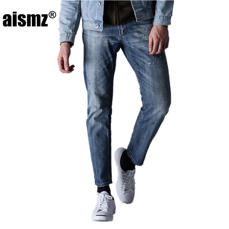Aismz New High Quality Jeans Men Casual Fashion Trouser Slim Fit Ankle-Length Scratched Denim Pants Male Brand Clothing 60006 classic mid stripe men s buttons jeans ripped slim fit denim pants male high quality vintage brand clothing moto jeans men rl617