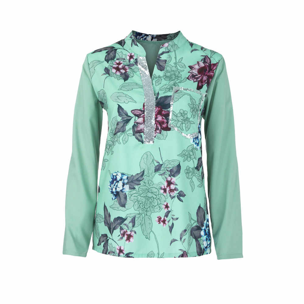 b0f9a903861 ... Feitong Plus Size V-Neck Top Shirts Summer Long Sleeve Floral Print  Blouse Women Sequined ...