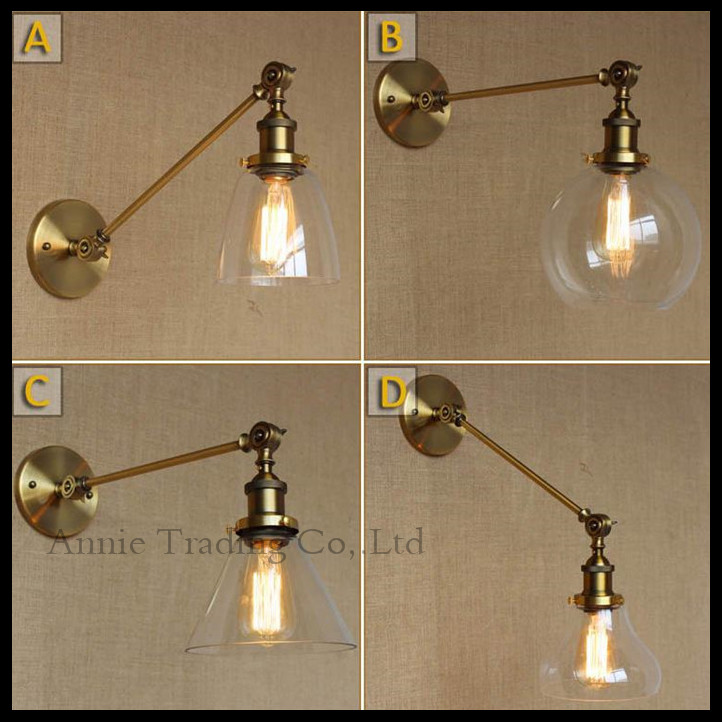 ФОТО Vintage L30cm single adjustable arm brass copper finished wall lights metal iron umbrella  Wall Sconce Abajur Luminaria europe