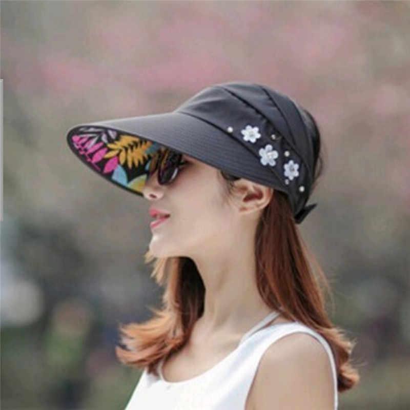 1 قطعة النساء قبعات للحماية من الشمس للصيف اللؤلؤ packable UV حماية الإناث قبعات قبعة للوقاية من الشمس مع رؤساء كبيرة واسعة حافة قبعة للشاطئ