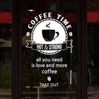 2018 Coffee Shop Window Vinyl Wall Decal Coffee Cup Logo Coffee Time Quote Mural Wall Sticker Coffee Shop Bar Cafe Decoration