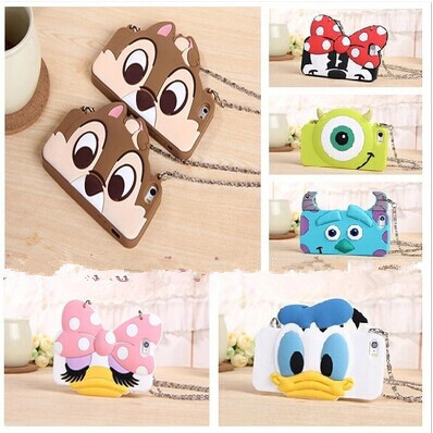 Metal Chain 3D Cartoon monsters Case Cover for iPhone 5 5s 6 6s 6plus Soft Silicone Sulley Mickey Minnie Mouse Donald Daisy Duck