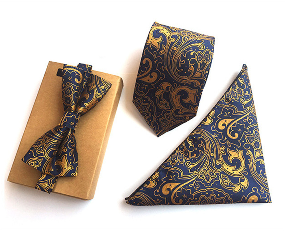 Scst Brand New Gold Paisley Print Blue Mens Neckties Silk