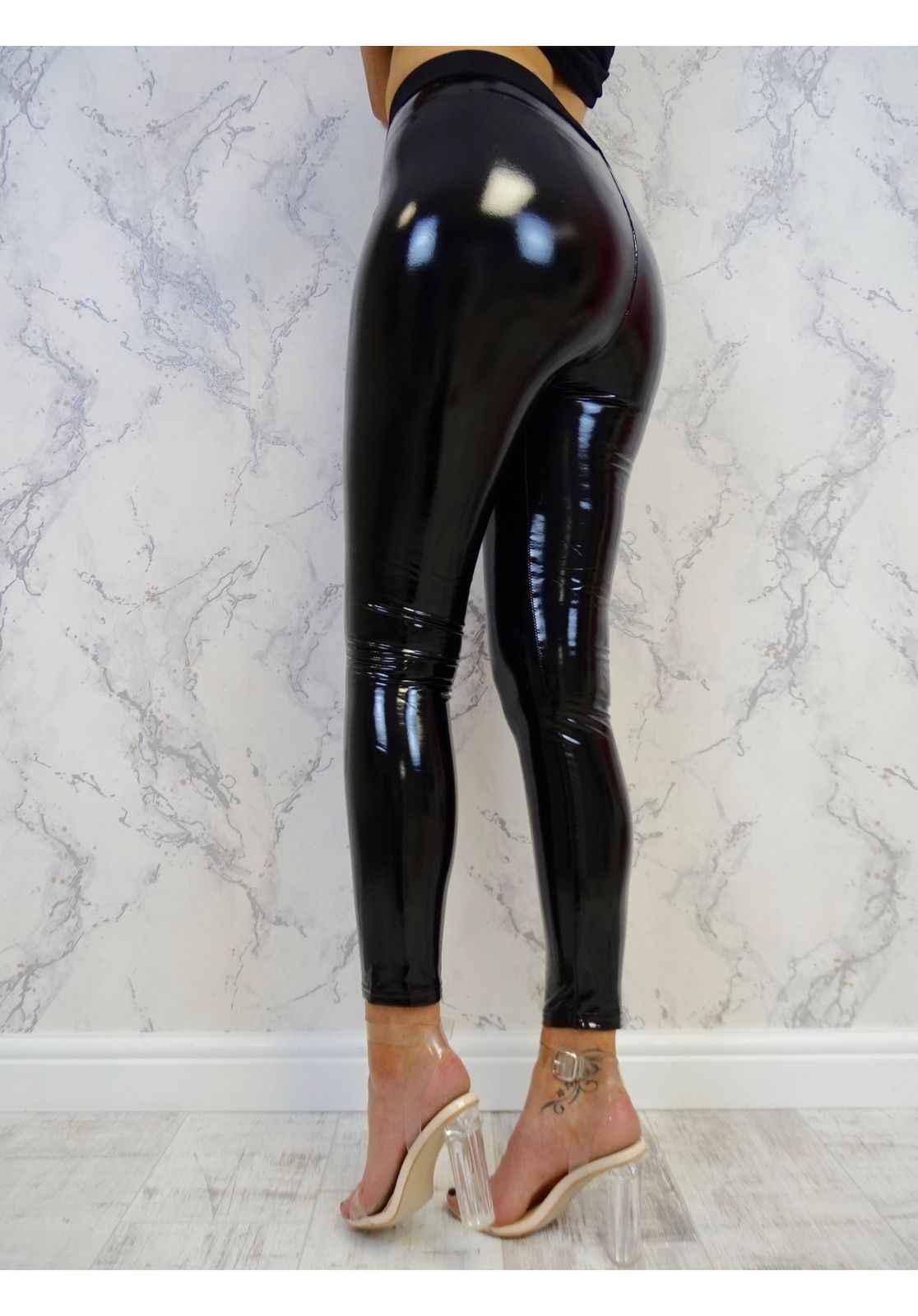 2018 nieuwe mode Dames Soft Strethcy Shiny Wet Look PU lederen Leggings Broek Broek stijlvolle vrouwelijke zwarte skinny broek