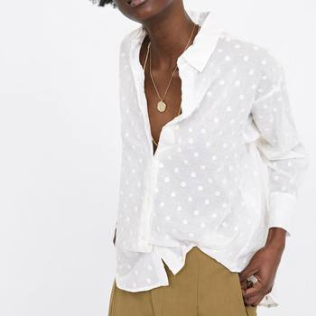 aa0cc26aa47d6c6 2019 za Женская хлопковая блузка с отложным воротником с вышивкой в горошек рубашки  Блузки Рубашки женские s Camisa Blusas