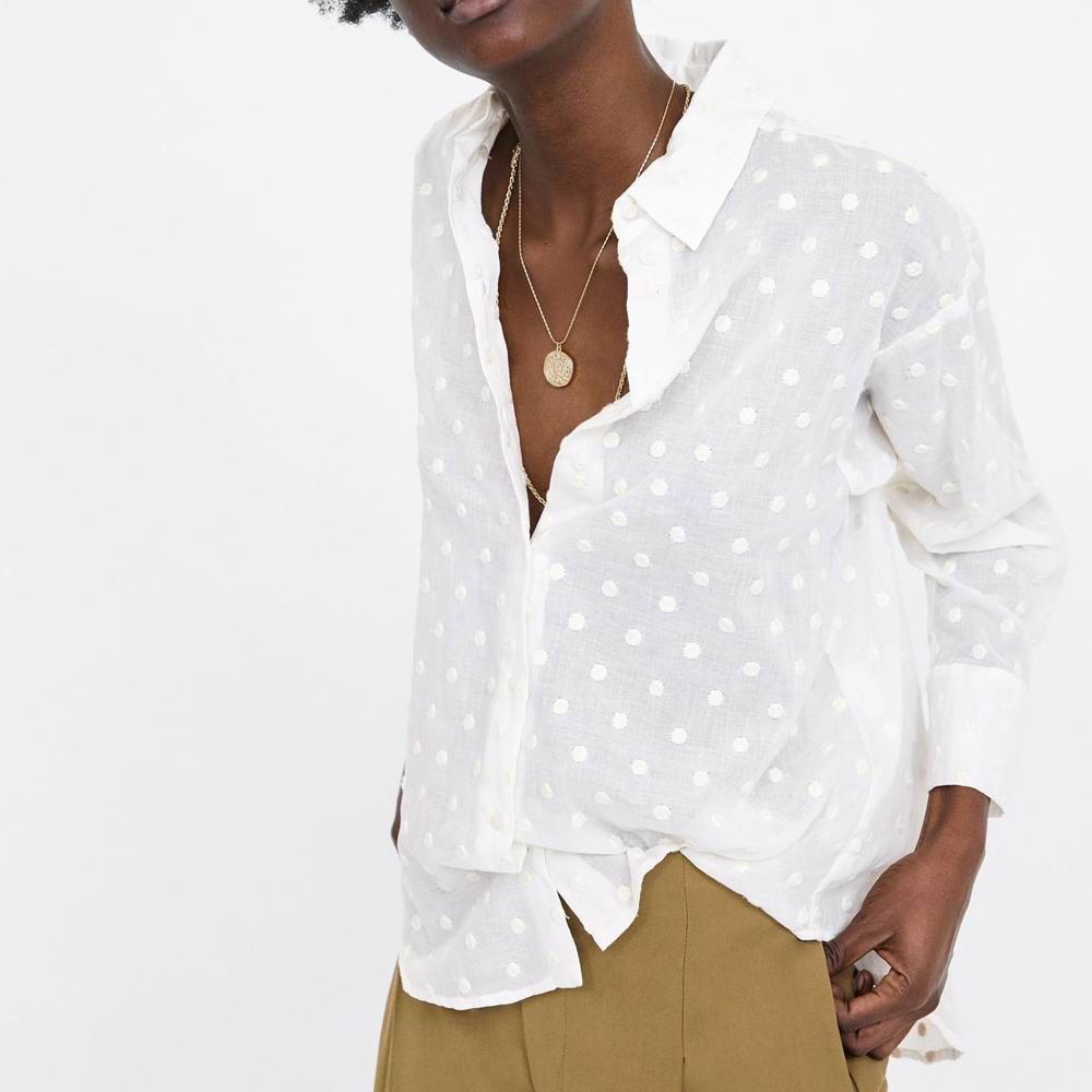 2019 za women cotton   blouse   turn-down embroderied polka dot   shirts     blouses     shirts   Womens Camisa Blusas