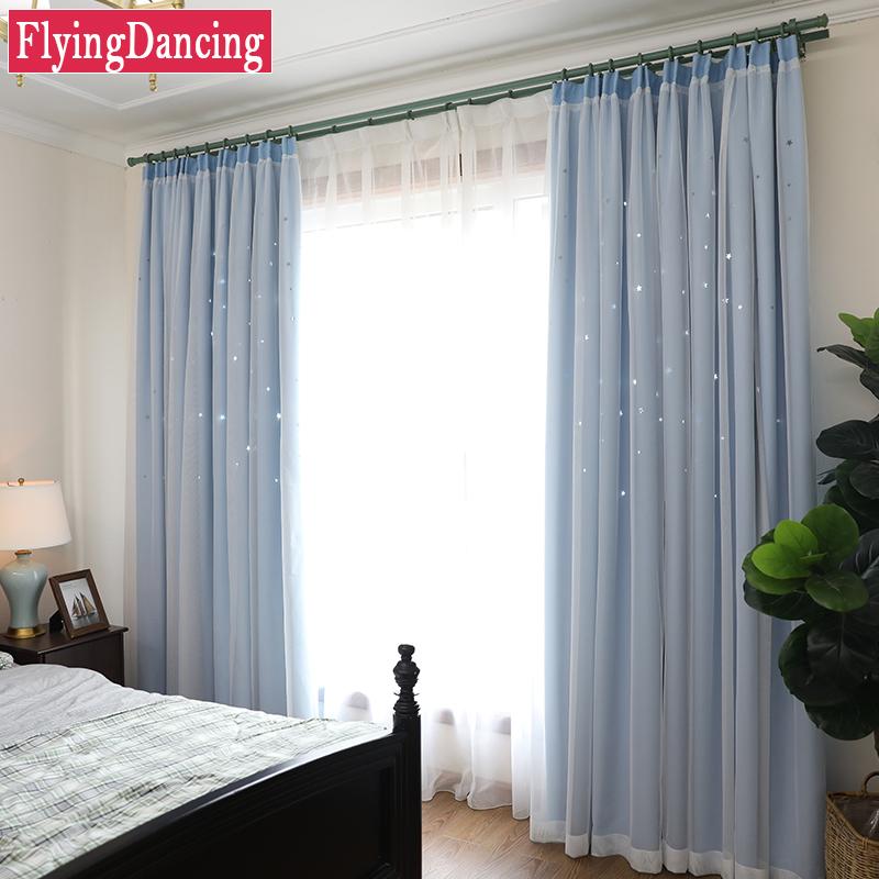 moderna hollow estrella capas nios cortinas para la sala de estar dormitorio cortina de