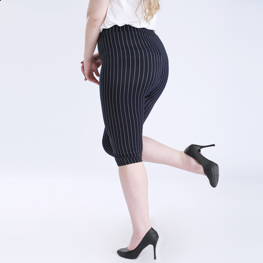 Summer Style High Quality Women leggings Stiped Super elastic Denim soft and breathable 5XL Plus size womens Mid-Calf pants