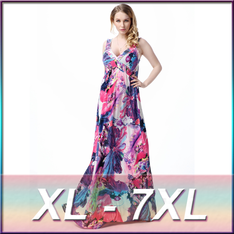91c9d0eb9a 2016 Summer Plus Size 5XL,6XL 7XL Women Sexy V Neck Backless Dress Print  Floral Ice Silk Bohemian Maxi Beach Dresses-in Dresses from Women's Clothing  on ...
