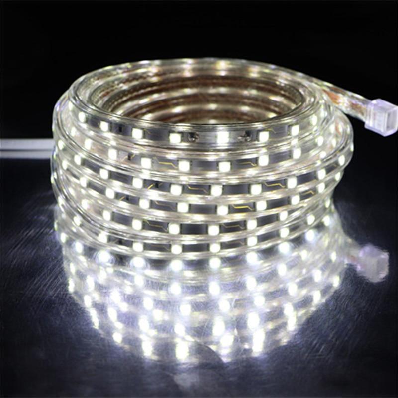 SMD 5050 AC 220V LED Strip White Outdoor Waterproof 220V 5050 220 V LED Strip 220V SMD 5050 LED Strip Light 5M 10M 20M 25M 220V