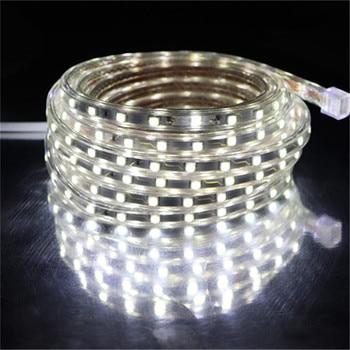 цена на SMD 5050 AC 220V LED Strip White Outdoor Waterproof 220V 5050 220 V LED Strip 220V SMD 5050 LED Strip Light 5M 10M 20M 25M 220V