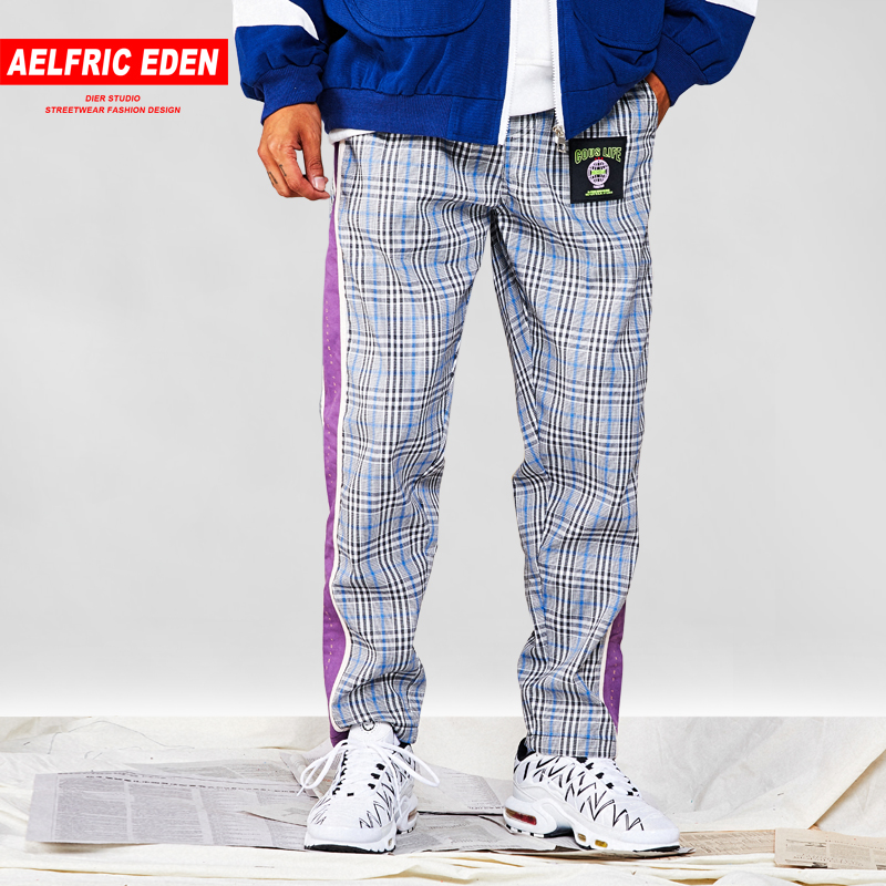 Adroit Aelfric Eden Plaid Side Striped Patchwork Harem Pants Men Autumn Patch Design Hip Hop Joggers Streetwear Casual Sweatpants Ur53 To Reduce Body Weight And Prolong Life