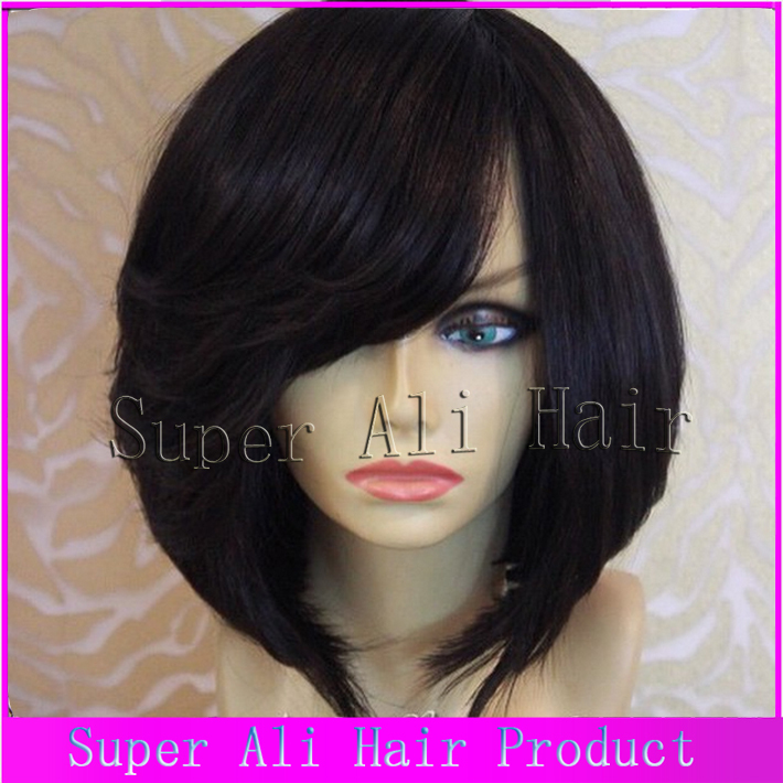 6A Hot Malaysian Bob Wig Virgin Glueless Full Lace Human Remy Wigs Bangs Short Unprocessed Black Women - Super Ali Hair store