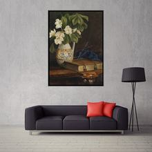 HD Printed Vintage Canvas Oil Painting White Flowers and Book Frameless Artwork for Shop Decoration 1 Panel Photo Fashion Gift