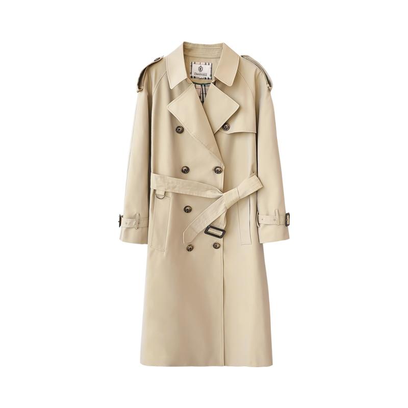 Dabuwawa printemps femmes kaki Chic manteau Trench 2019 nouveau Highstreet vêtements de travail Double boutonnage ceinturé long manteau d'extérieur D18CTC025 - 5