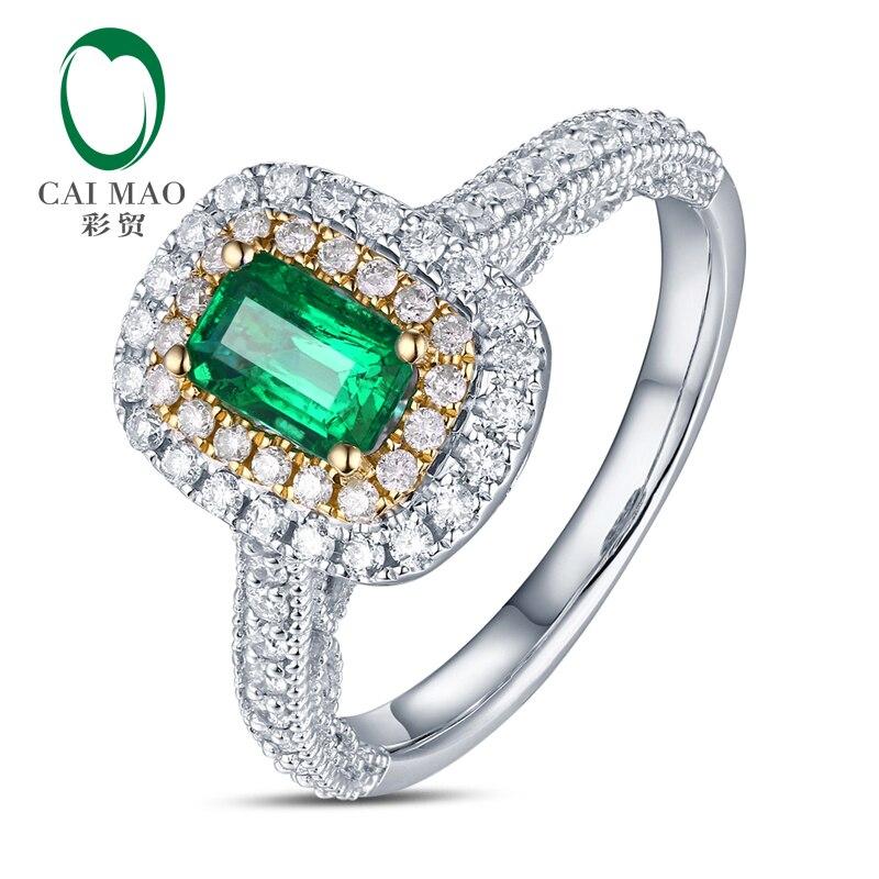 Antique 14ct Multi-Tone Gold 1.08ctw Natural Emerald H SI Diamond Milgrain Engagement Wedding Ring