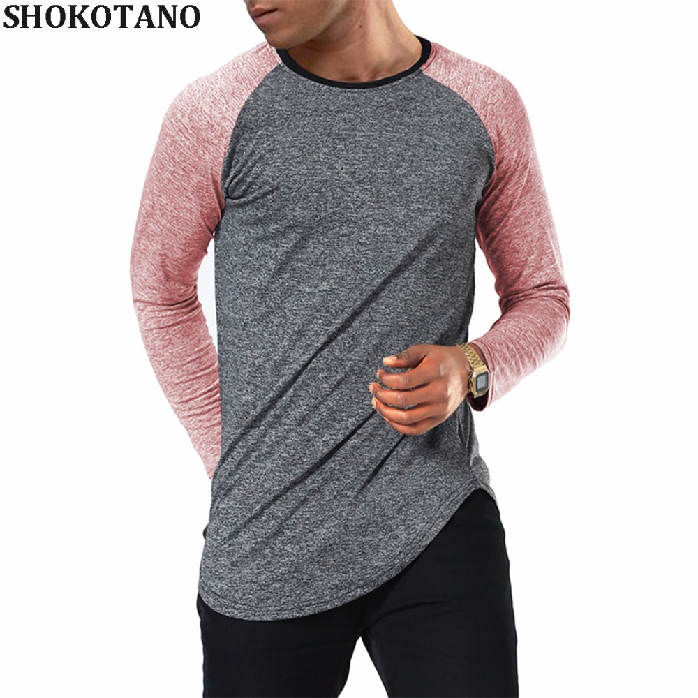 SHOKOTANO Long Sleeve Raglan Jersey   T     Shirt   Men Hipster Hip Hop Basic SWAG Curved Hem Baseball   T  -  Shirt